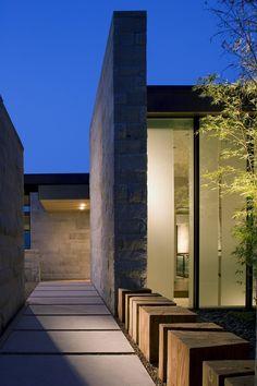 Rhythm in path lined w/ tree trunk cubes; Aidlin Darling Design