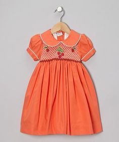 Take a look at this Orange Strawberry Dress - Infant, Toddler & Girls by Sweet Dreams on #zulily today!
