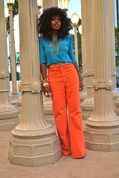 Discover this look wearing Carrot Orange Style American Apparel Jeans tagged style, color, happy, inspiration - Lover by StylePantry styled for Dinner Party in the Summer Orange Pants Outfit, Orange Outfits, Turquoise Pants Outfit, Colored Pants Outfits, Orange Clothes, Bright Clothes, Turquoise Shirt, Orange Jeans, Turquoise Fashion