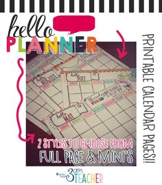 NEW!! Hello Planner: Illustrated Printable Calendar Pages for ANY YEAR!! PDF with full page and quarter pages to print!! Super CUTE!!! $5.00