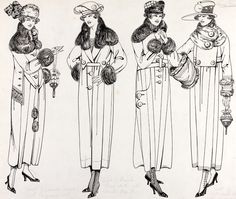 Florrie Westwood, fashion design, London, 1919. Four different designs for winter coats emphasise the new fashion for the linear silhouette and ankle length designs. They also show the new shape (higher neck covering and greater shoulder coverage) of fur collars and cuffs. Vand A Museum no. E.1538-1977