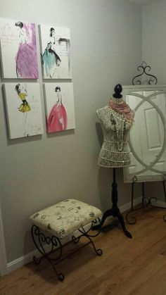 fashion decor, mannequin, mirror on stand, fashion wall decor, fashion wall art