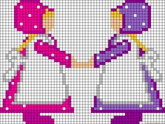 Two girls with bonnets holding hands chart for cross stitch, knitting, knotting, beading, weaving, pixel art, and other crafting projects. Alpha Patterns, Hobbies And Crafts, Pixel Art, Charts, Holding Hands, Beading, Craft Projects, Cross Stitch, Crafting