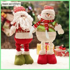 Retractable Christmas Santa Claus/Snowman Dolls Standing Navidad Figurine Christmas tree Ornaments Kids Christmas Gifts Toy