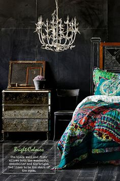 I love warm dark walls for a bedroom space. It encourages sleep, intimacy and introspection.  http://interiornovice.files.wordpress.com/2013/06/darkbrightcolours.jpg