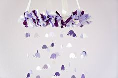 Elephant Mobile- Purple & Lavender Nursery Mobile, Photography Prop,  Baby Shower Gift on Etsy, $67.65 CAD