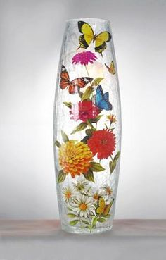 Stony Creek Butterfly Collection Lighted Tall Vase