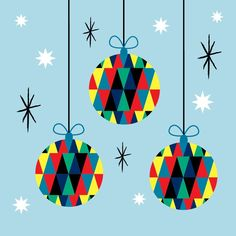Christmas baubles card from Anamiro