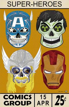 """""""Avengers Assemble!"""" Sugar Skull Print inspired by the characters from the Marvel comics and movies including: Thor, Hulk, Iron Man, and Captain America."""