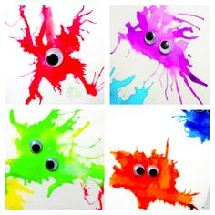 That's So Cuegly: Monster Straw Painting. I'd have kids add their own details rather than use googly eyes. Preschool Crafts, Fun Crafts, Crafts For Kids, Arts And Crafts, Fete Halloween, Halloween Crafts, Blow Paint, Monster Crafts, Business For Kids
