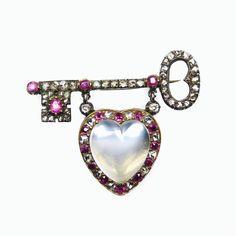 The antique key to my 19th century heart #SJPhillips #NewBondStreet #London #antiquejewellery #antique #jewellery #jewels #ruby #rosediamond #diamond #key #brooch #moonstone #heart #close #set #silver #gold #19thcentury #1840