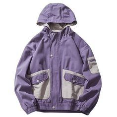 90s Nostalgia Hooded Jacket ($69) ❤ liked on Polyvore featuring outerwear, jackets, hooded jacket and purple jacket