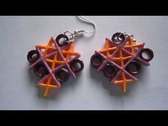 Handmade Jewelry - Paper Quilling TicTacToe Earrings  (Not Tutorial) - http://videos.silverjewelry.be/handmade-jewelry/handmade-jewelry-paper-quilling-tictactoe-earrings-not-tutorial/