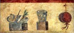 "FRIED CARROTS 1 kg. baby carrots_ 2 c white wine_ ""garum""________ Cut carrots into thin strips// Make sauce of wine & ""garum// Fry carrots// Cover with sauce and serve hot. Ancient Roman Food, Ancient Romans, Ancient Art, Fresco, Rome, Beauty In Art, Roman Art, Roman Empire, Food Art"
