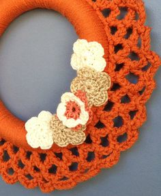fall crochet wreath from AliceRemembers