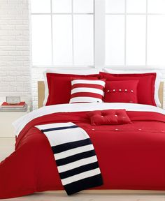 Lacoste Solid Roccoco Red Brushed Twill Comforter and Duvet Cover Sets - Duvet Covers - Bed & Bath - Macy's