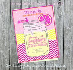 Lemonade Birthday Party Invitations AND Thank by DazzlingDarlings, $16.00