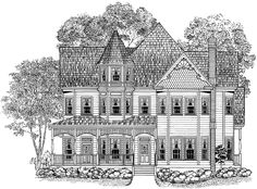 Eplans Queen Anne House Plan - Splendid Spindlework - 3724 Square Feet and 4 Bedrooms from Eplans - House Plan Code Victorian House Plans, Victorian Style Homes, Victorian Design, Victorian Fashion, Dream House Plans, House Floor Plans, Home Building Design, House Design, Building Plans