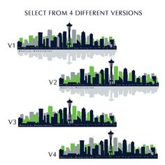 Skyline Wall Decal NFL SEATTLE SEAHAWKS Official by AmericanDecals