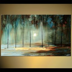Modern landscape painting by the artist Osnat Tzadok. Choose from thousands of modern, contemporary and abstract paintings in this online art gallery. Canvas Painting Landscape, Forest Painting, Painting Art, Forest Art, Contemporary Abstract Art, Contemporary Landscape, Modern Artwork, Modern Landscaping, Landscaping Software