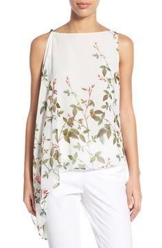 Adrianna Papell Floral Print Asymmetrical Chiffon Blouse available at #Nordstrom