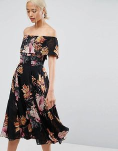 online shopping for ASOS Bardot Midi Dress Floral Print from top store. See new offer for ASOS Bardot Midi Dress Floral Print Floral Evening Dresses, Floral Midi Dress, Fall Dresses, Party Dresses, Floral Dresses, Winter Wedding Outfits, Bardot Midi Dress, Robes Midi, Costume