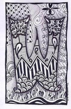Zentangle, Letter W, Zebra Letters, name, bunting, alphabet. £3.50, via Etsy.