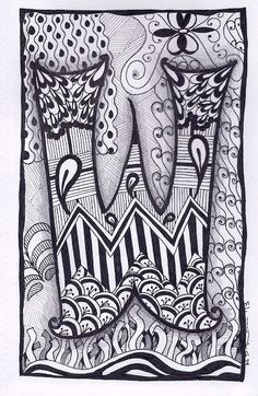 Zentangle, Letter W, Zebra Letters, name, bunting, alphabet. £3.50, via Etsy.