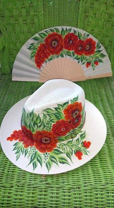 Sombreros for Sale in Surprise, AZ - OfferUp One Stroke Painting, Tole Painting, Fabric Painting, Diy Painting, Painted Hats, Painted Clothes, Diy Hat, Painted Wine Glasses, Love Hat