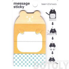 Teddy Bear Shaped Animal Themed Adhesive Memo Message Post-it Letter Paper Sticky Pad