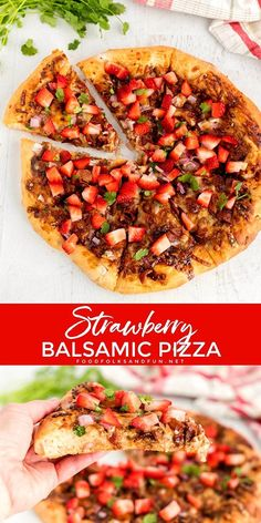 Strawberry Pizza with Bacon and Balsamic is one of my favorite pizza creations. This pizza recipe is packed with layers of savory and sweet flavors. Healthy Recipes On A Budget, Potluck Recipes, Bacon Recipes, Top Recipes, Pizza Recipes, Chicken Recipes, Dinner Recipes, Summer Recipes, Flatbread Recipes