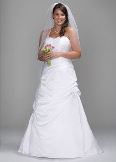 Satin Pleated Drop Waist Bodice with Pick-up Skirt - David's Bridal- mobile