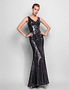 Sheath/Column V-neck Floor-length Sequined Evening Dress (74... – USD $ 199.99