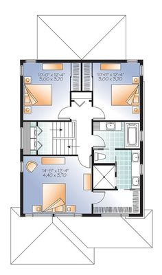 Discover the plan 3876 - Winslet from the Drummond House Plans house collection. Modern narrow lot house plan with garage, large kitchen, 3 bedrooms, master with ensuite, covered terrace. Total living area of 1617 sqft. Narrow Lot House Plans, Garage House Plans, Car Garage, Contemporary Style Homes, Contemporary House Plans, Duplex Floor Plans, Zen, Drummond House Plans, Compact House