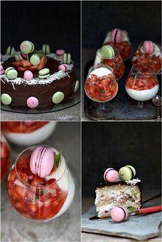 Strawberry & Kiwi Bavarian Cake with Razzle Dazzle Macarons … Vanilla Bavarian Mousse with Strawberries & Basil