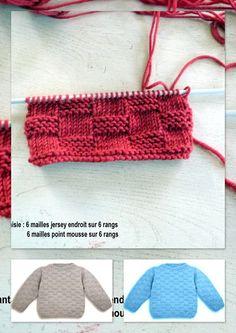 petit pull point brique Crochet Baby Dress Pattern, Crochet Hats, Crochet Bikini, Crochet Necklace, Couture, Knitting, Point, Baby Cardigan, Pull Bebe