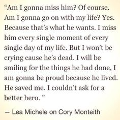 Lea Michele is the strongest and most inspirational person I have ever seen in my life. So proud of her and all that she has accomplished.
