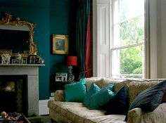Dark teal walls