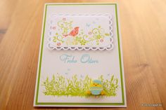 Osterkarte-Ostern-Karte-Easter-Card-Schmetterling-Frohe-Ostern-Osterwiese-Frühlingswiese-Wiese-Gras-Vogel-Stempel-Colorierung-mehrfarbig-Stanzteil-rot-grün-gelb-Küken-Frühling-Gruß-Klappkarte-gerade