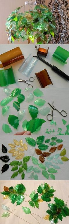 leaf chandelier. looks like various soda bottles, wire, and a knife to make the…