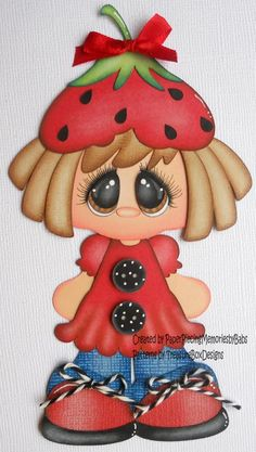 lollipop girl kids summer premade paper piecing scrapbooking page album Tole Painting, Fabric Painting, Doll Crafts, Paper Crafts, Cute Pictures To Draw, Birthday Design, Kokeshi Dolls, Punch Art, Bottle Crafts