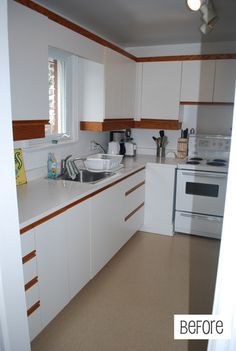easy and affordable kitchen makeover - update 80s laminate cabinets