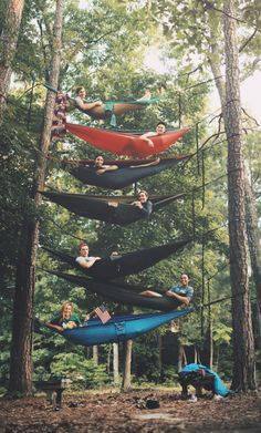 Stacked hammock life! This looks so fun. I just hope the people in the top hammocks brought their Phone Lassos!
