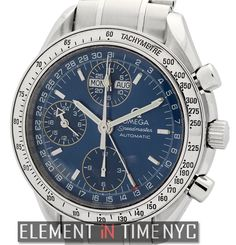#Omega #Speedmaster Day Date Chronograph 39mm iN Stainless Steel With A Blue Dial Circa 1998 (3523.80.00)