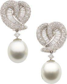 Rosamaria G Frangini | High Antique Jewellery | TJS |  Estate Jewelry: Earrings, Diamond, South Sea Cultured Pearl, Platinum Earrings.
