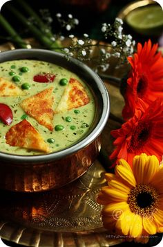 Nawabi Paneer Curry ~ Shallow fried Indian cottage cheese and green peas cooked in rich, creamy coconut and cashew nut gravy  Recipe: http://www.monsoonspice.com/2013/06/nawabi-paneer-curry-recipe-simple.html