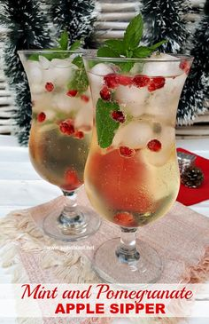 Refreshing, Mint and Pomegranate Apple Sipper is a must on your holiday drinks menu ! (Sparkling or plain) added alcohol optional #Christmas #ChristmasDrinks #Drinks #FestiveDrinks #applerecipe