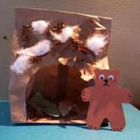 Bear cave hibernation craft and activity for preschool and kindergarten