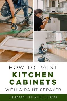 Sharing all the tips and 'how to' for Painting Kitchen Cabinets With a Sprayer. We're updating these dated oak kitchen cabinets with fresh paint for a modern farmhouse kitchen makeover! Head over to my blog to check out the step by step instructions and video! Home Decor Hacks, Decor Crafts, Diy Home Decor, Oak Kitchen Cabinets, Painting Kitchen Cabinets, Modern Kids Bedroom, Blogger Home, Diy Home Repair, Modern Farmhouse Kitchens