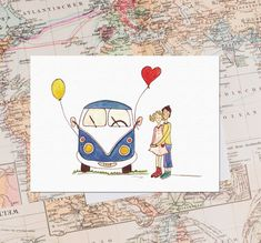 "Bulli-Karte ""Love Bus"" Vw Camper, Vw Vintage, Illustration, Scandinavian, Road Trip, Balloons, Germany, Prints, Animals"